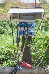 Stromverteiler auf einem Campingplatz