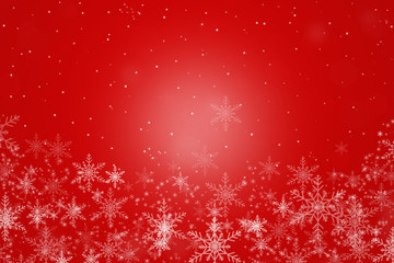 Beautiful white snowflakes on a  red background.
