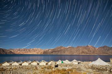 Star trails at Pangong lake