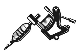 Tattoo machine vector monochrome illustration