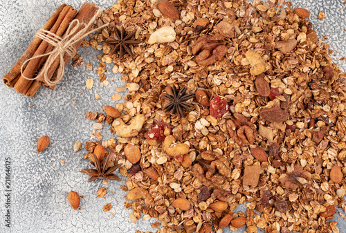 Organic homemade Granola Cereal with oats, almond, anise and cinnamon. Texture oatmeal granola