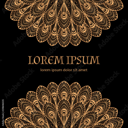 Luxury Background Vector Gold Black Peacock Feathers Royal Pattern