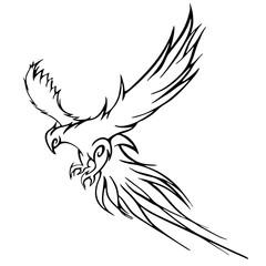 Phoenix bird flying vector graphic.