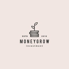 coin leaf sprout money grow investment logo vector icon illustration