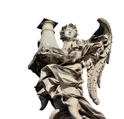 Angel statue holding the Column of Jesus Passion looks at the Heaven on Sant'Angelo Bridge in Rome (isolated on white background)