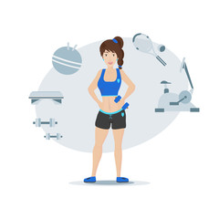 Vector illustration of a cartoon beautiful slender girl holding a dumbbell in her hand.
