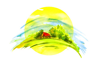 Watercolor painting - country view, nature, house in the village, autumn landscape. Yellow sun. Watercolor landscape with a house and trees, bush, fence.