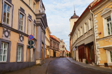 Painting on canvas of empty street in capital of Lithuania - Vilnius
