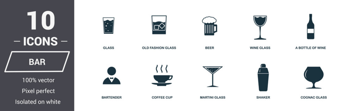 Bar icon set. Premium quality symbol collection. Bar icon set simple elements. Ready to use in web design, apps, software, print.