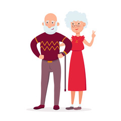Couple of cute elderly standing together vector flat illustration. Aged lady and old man cartoon characters smiling and having date isolated on white background.