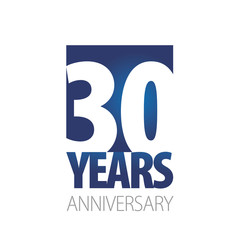 30 Years Anniversary blue white logo icon banner