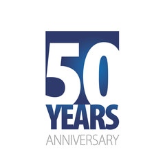 50 Years Anniversary blue white logo icon banner