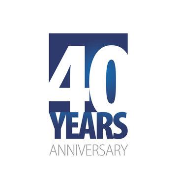 40 Years Anniversary blue white logo icon banner