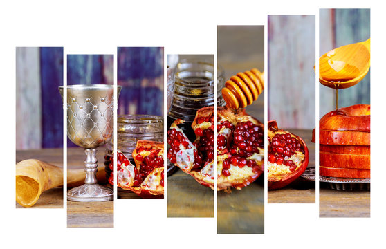 Background Rosh hashanah Jewish New Year . Traditional holiday symbols - shofar, honey and apple
