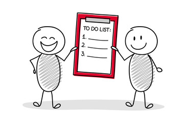 Funny stickmen holding clipboard with to do list. Vector.