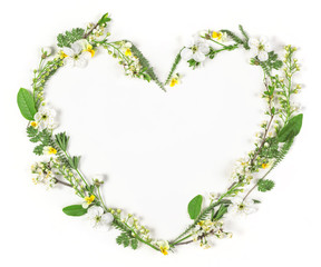 Heart symbol made of spring flowers and leaves isolated on white background. Flat lay. Top view.
