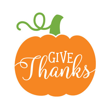 Pumpkin with text Give Thanks. Thanksgiving pumpkin vector illustration.