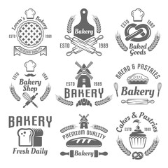 Bakery and pastries vector monochrome emblems