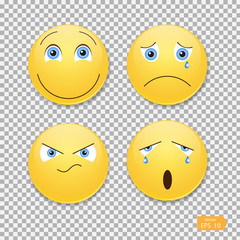 Smiley Set .Funny emotions ,vector , illustration