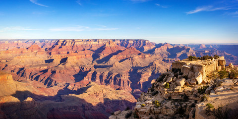 Grand canyon nation park panorama view on a sunny day. Arizona, USA.