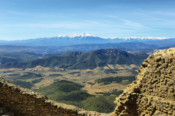 View of Pyrenees from Queribus Casttle
