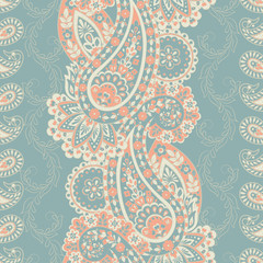 Paisley Seamless Pattern. Indian style colorful vector ornament