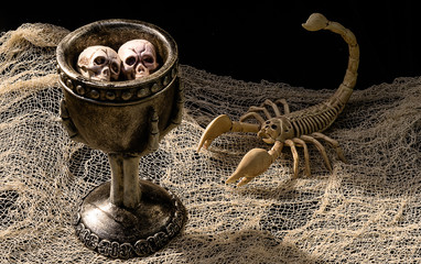 A spooky scorpion on the table with two curious skulls floating in a witch's potion.
