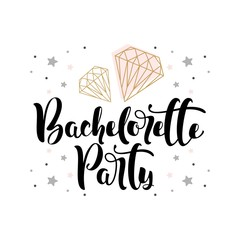 "Lettering ""Bachelorette Party"" with hand-drawn beautiful  vector illustration"