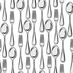 Seamless pattern, cutlery spoon with fork without background