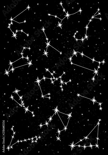 Cute Hand Drawn Zodiac Vector Illustration Black Background White Stars Childish Style