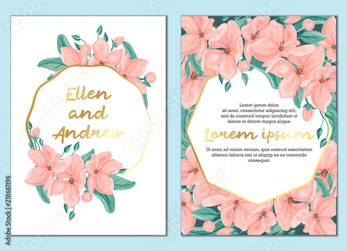Template Of Wedding Invitation Or Greeting Card Botanical