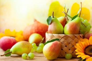 Autumn still life with seasonal fruits