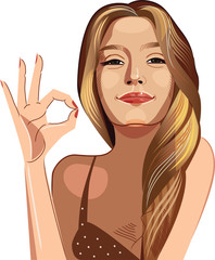 young sexy woman with long blonde hair with long hair showing ok sing. Vector illustration of beauty face girls, showing OK gesture