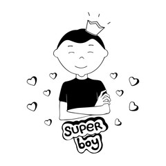Monochrome Cartoon Vector Illustration of a Happy Super Boy with Arms Crossed and a Crown on the Top of his Head, Isolated on White Background