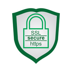 Webpage security icon with shield