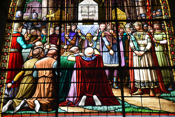 Vitrail du saint Suaire à l'église Saint-Jacques de Compiègne, France