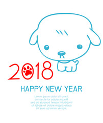Happy New Year 2018 background, happy dog with Happy new year 2018, dog's,Colorful Vector Illustration