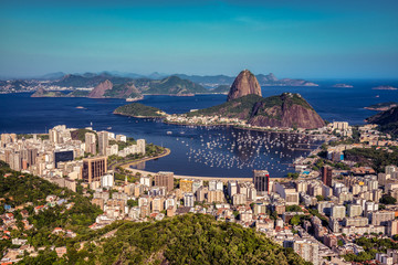 Botafogo Bay and Sugarloaf Mountain at sunset with skyline of Rio de Janeiro, Brazil Fototapete