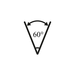 Sharp angle 60 degrees icon
