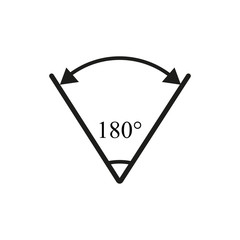 Angle 180 degree icon
