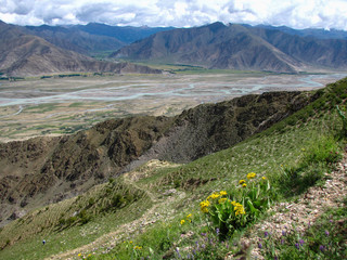 Beautiful panoramic view of rivers in the valley surrounded by mountains, near Ganden Monastery, Tibet