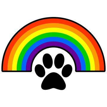 Rainbow Bridge - A vector cartoon illustration of a rainbow bridge with a paw print.
