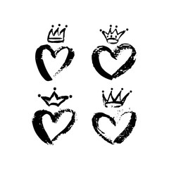 Hand drawn crown and heart icon set in black color. Ink brush crowns, hearts background.