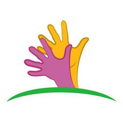 Logo hands hopeful vector design