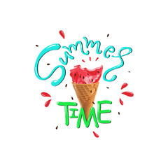 Summer time slogan vector print with matermelon.