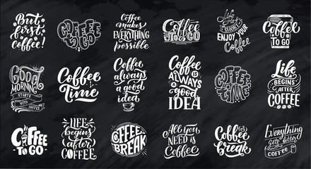 Set of Hand lettering quotes with sketches for coffee shop or cafe. Hand drawn vintage typography collection isolated on chalk background