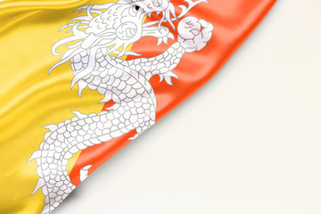Bhutan flag: white background and place for text