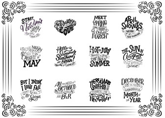 Set of compositions for every months, calendar template. Hand drawn lettering quotes for calendar design, illustration