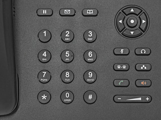 Generic black number key pad with white numbers.