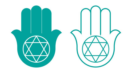 Ornate  Hamsa with the seal of Solomon. Arabic and Jewish amulet. Vector illustration.